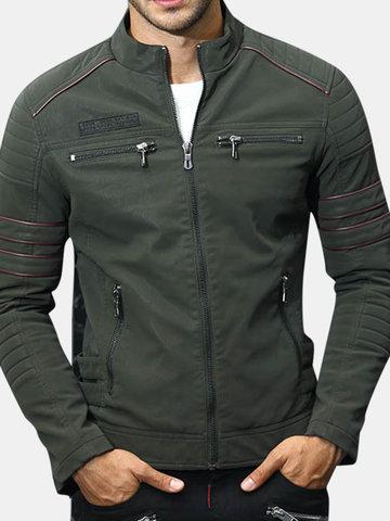Men's Stand Collar PU Jacket