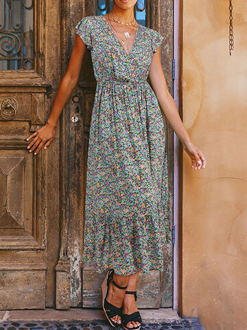Floral Print Backless Knotted Dress