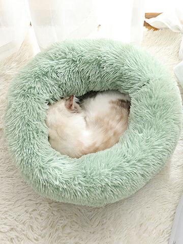 Avocado Green Long Plush Super Soft Pet Round Bed Kennel Dog Cat Comfortable Sleeping Cushion