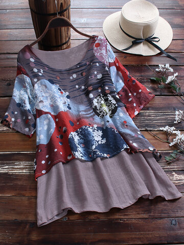 Wrinkle Print Fake Two Pieces Blouse