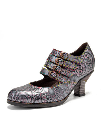 SOCOFY Retro Embossed Leather Mary Jane Heels
