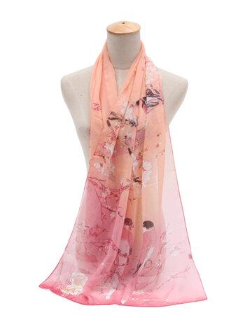 Women Oversize Chiffon Beach Shawl Casual Print Scarves