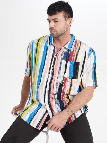 Plus Size Graffiti Striped Shirt