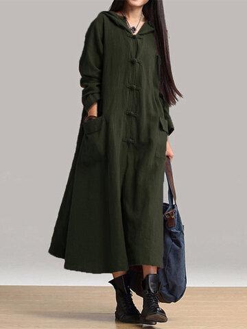 Vintage Hooded Midi Dress