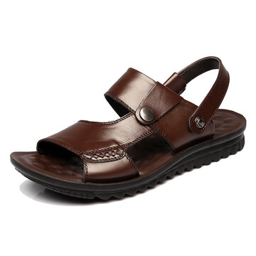 Men Genuine Leather Beach Sandals