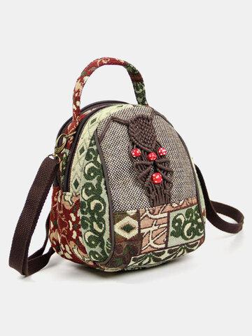 Ethnic Pattern Print Multi-Carry Bag