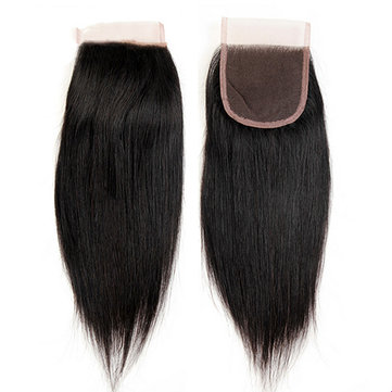 4*4 Brazilian Straight Hair Extensions Lace Closure 100% Human Virgin Hair For Women