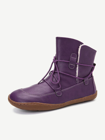Adjustable Stitching Casual Flat Boots