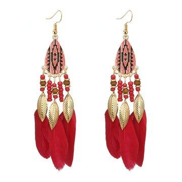 Bohemian Feather Drop Earrings