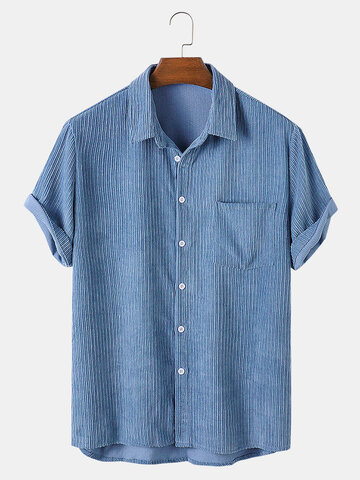 Corduroy Solid Color Casual Shirts