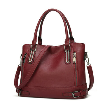 Women Soft Leather Large Capacity Tote Bag Solid Handbag