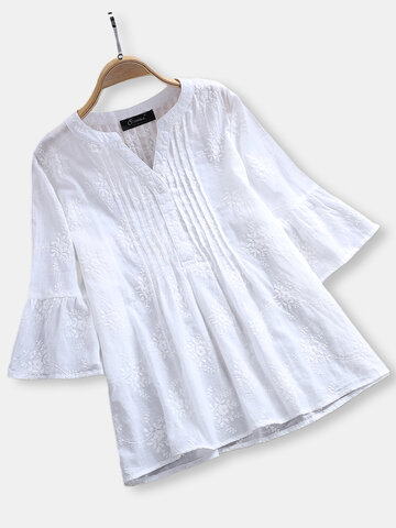Embroidery Pleated Trumpet Cotton Blouse, White navy