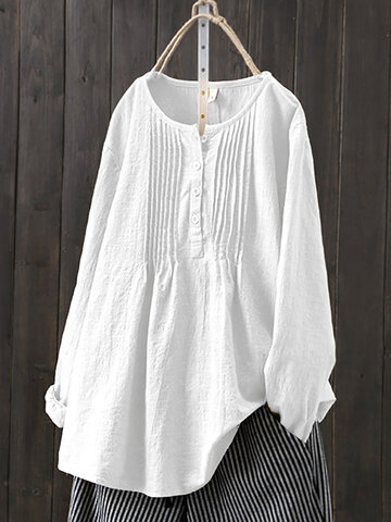 Vintage Solid Color Pleated Blouse