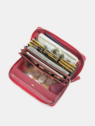 Brenice RFID Microfiber Zipper Long Wallets Large Capacity Bags