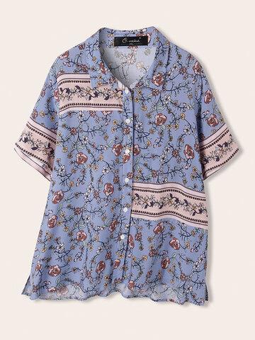 قميص طية صدر مرقع بطبعة زهور