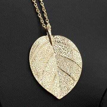 Collares pendientes de moda de hoja de oro