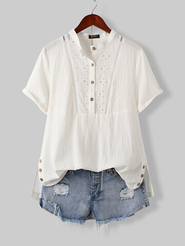 Hollow Out Side-slit Buttons Blouse