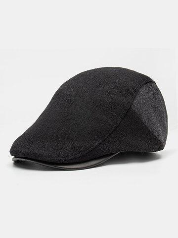 Men Patchwork PU Hat Brim Flat Cap