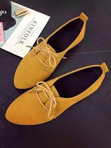 Suede Lace-up Pointed Toe Loafers Shoes