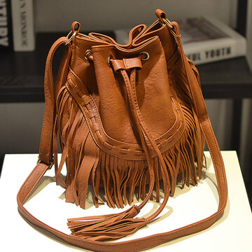 Women Tassel PU Leather Crossbody Bag