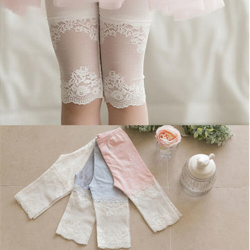 Cotton Girls Lace Seven Points Leggings