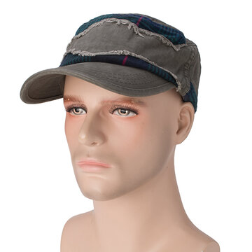 Mens Cotton Grid Patch Flat Top Hat Outdoor Casual Military Training Sunscreen Baseball Cap