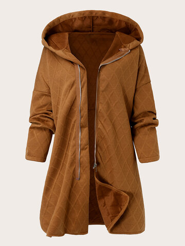 Loose Solid Zip Front Hooded Jacket