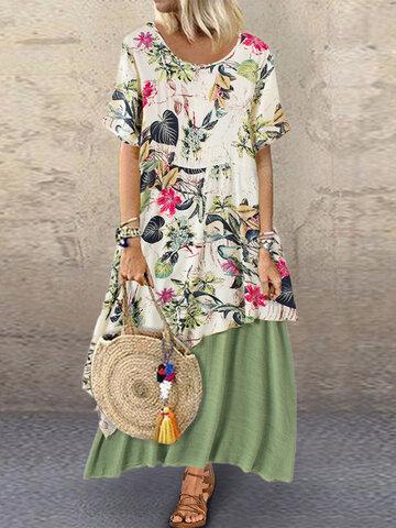 Vintage Floral Patchwork Dress