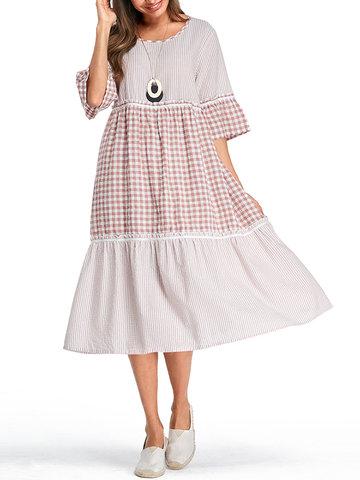 منقوشة شريطية نصف كم فستان المرقعة