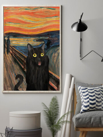 Black Cat Unframed Oil Painting Canvas Mysterious Wall Art Living Room Home Decor