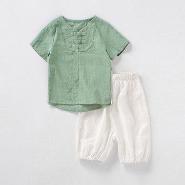 Shorts de menino de estilo chinês conjunto 2Y-11Y