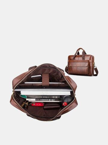Genuine Leather Waterproof 15.6 Inch Laptop Bag Briefcase
