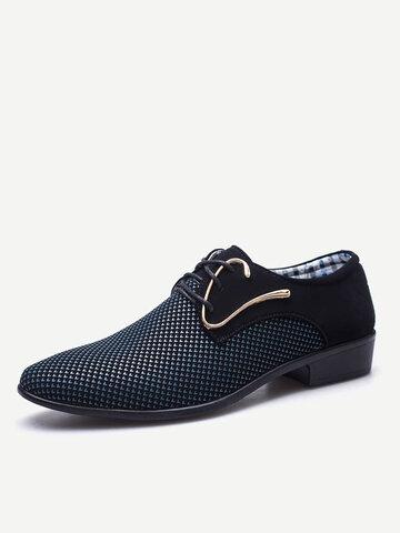 Men Splicing Leather Formal Dress Shoes