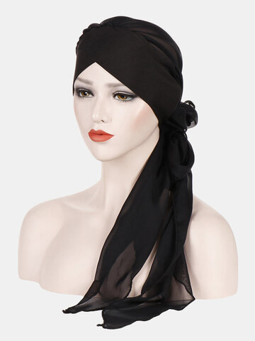 Beanie Hat Solid Color Fashion Chiffon With Long Tail