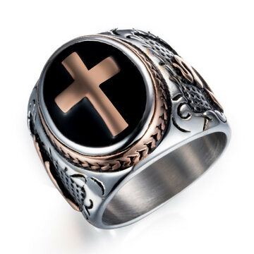 Punk Stainless Steel Cross Ring