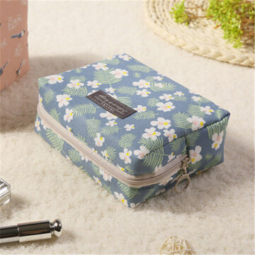 Sweet Flower Cosmetic Bag, Blue pink navy white