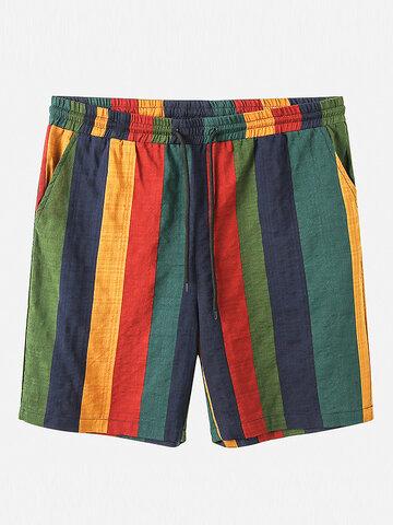 Dünne und atmungsaktive Baumwollshorts mit Colorful Streifen