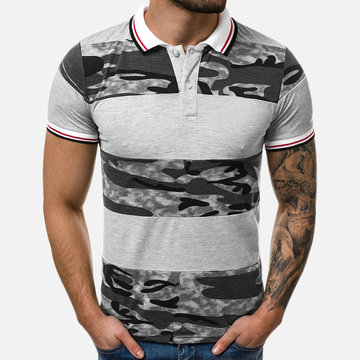 Mens Camouflage Patchwork Golf Shirt