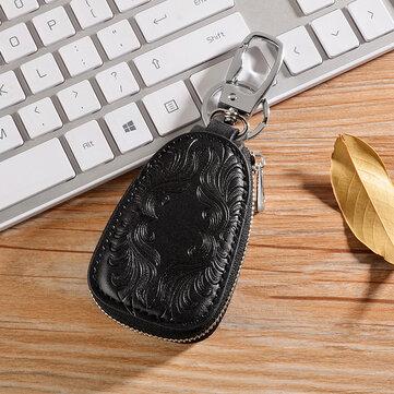 خمر مفتاح جلد طبيعي حامل مفتاح السيارة حقيبة للرجال النساء