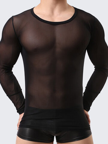 Mens Sexy Mesh Visible Breathable Slim Fit Crew Neck Long Sleeve T-shirt