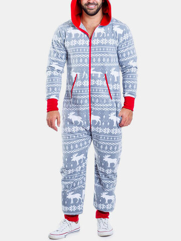Snowflake Print Beam Footed Zipper Onesies