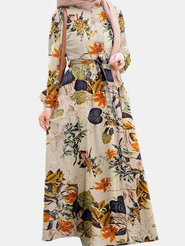 Vintage Flower Puff Sleeves Maxi Dress