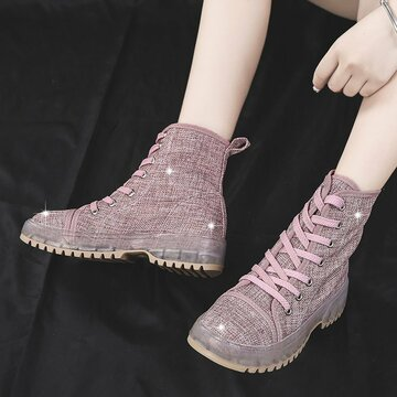 Lace up Cloth Boots