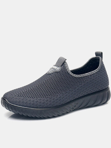 Men Knitted Fabric Casual Walking Shoes