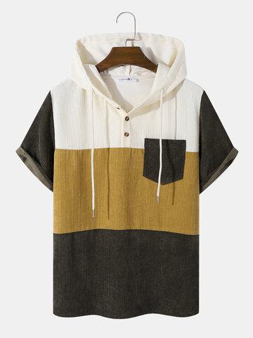 ポケット付きコーデュロイフード付きTシャツ