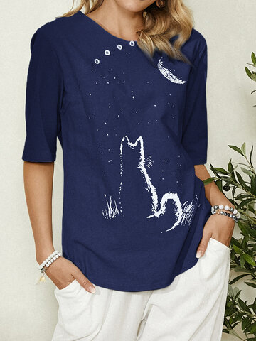 Cute Cat Print Button T-shirt