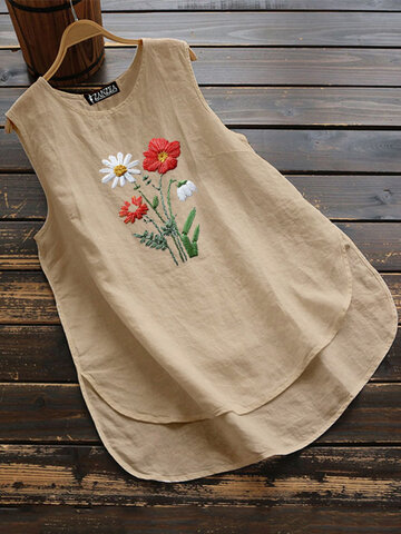 Daisy Flower Embroidery Sleeveless Tank Tops For Women