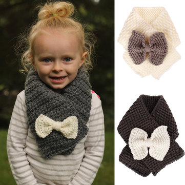 Bowknot Patch Kid's Knit Scarf For 1-6 Years