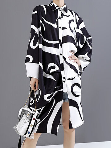 Women Abstract Print Long Sleeve Lapel Button Loose Casual Dress