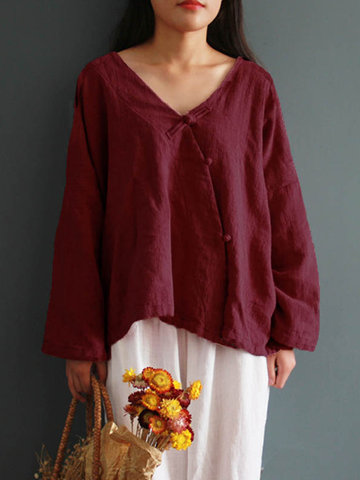 Vintage Solid Chinese Frog V-Neck Shirt фото